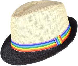 Fedora Hat with Rainbow Ribbon