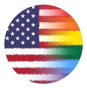 Rainbow American Flag Button