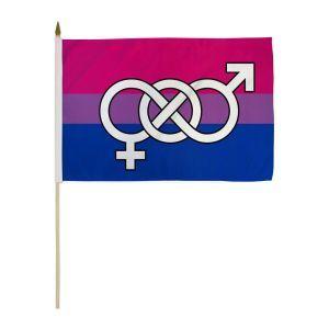 """Bisexual Symbol Stick Flag (12"""" X 18"""")"""