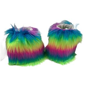 Fuzzy Rainbow Boot Cuffs