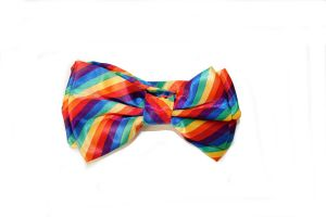 Rainbow Striped Clip Bow
