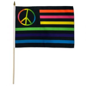 Neon Peace Sign Stick Flag