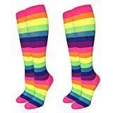 Neon Rainbow Knee High Socks