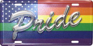 """Aluminum Rainbow """"Pride"""" License Plate"""