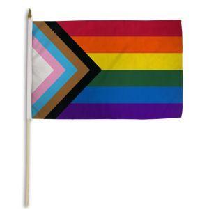 "Progress Rainbow Stick Flag (12"" X 18"")"