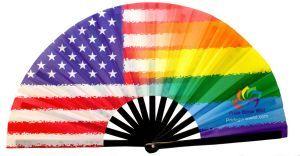 American Rainbow Clacking Large Bamboo Folding Fan
