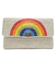 Rainbow Patterned Beaded Clutch Bag