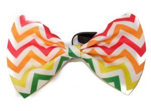 Fun and Classy Rainbow Striped Dog Bow