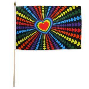 "Rainbow Love Stick Flag (12"" X 18"")"
