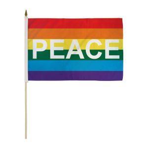"""Peace Rainbow Stick Flag (12"""" X 18"""")"""