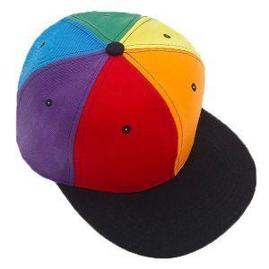 Rainbow Panel Flat Bill Trucker Hat
