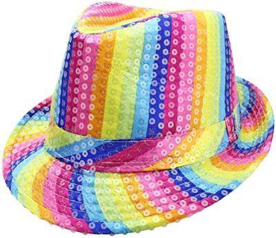 Rainbow Striped Sequin Fedora Hat