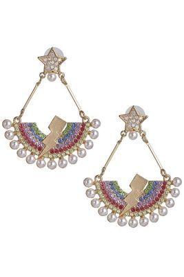Rhinestone Rainbow Earrings