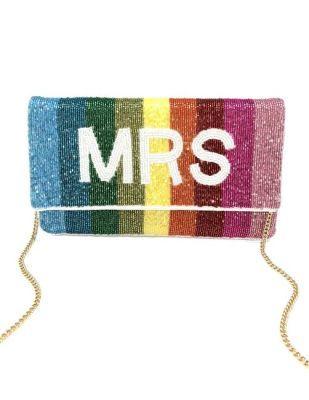 Mrs. Rainbow Beaded Clutch Bag