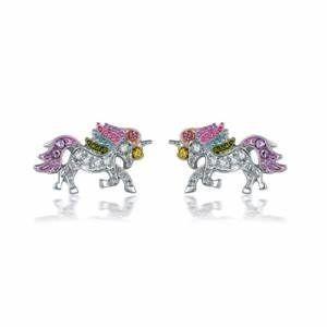 Rhinestone Rainbow Unicorn Earrings