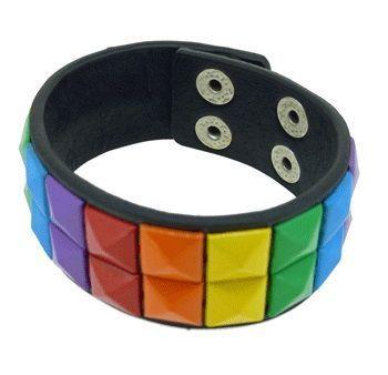 Rainbow Double Row Studded Leather Bracelet